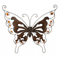 Copper Jewel Stones Large Rustic Effect Metal Butterfly Wall Art